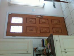 6 panel carved fir door with 2 glass panels