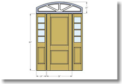 2 panel door with sidelights and transom