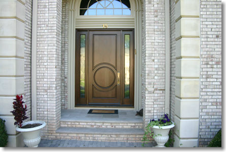 round panel door with 2 sidelights