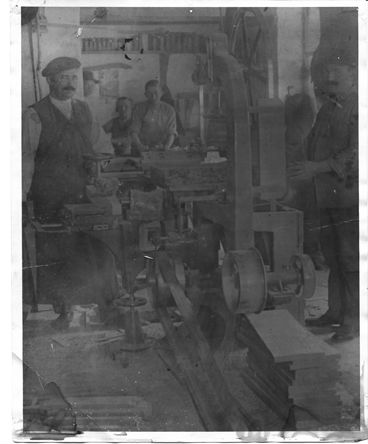 Ferenc Wohner in his shop, cic 1900