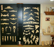 wood carvings in showroom display